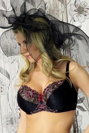Elegantní černá podprsenka Sophia s barevnou krajkou