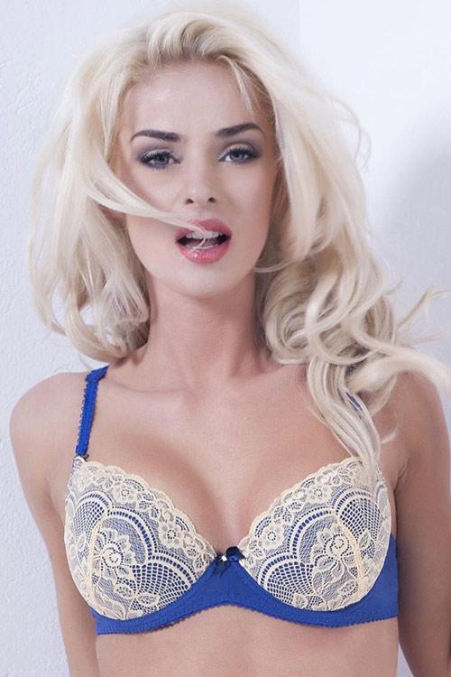 Atraktivní krajková podprsenka modré barvy