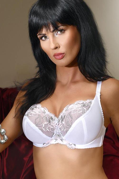 Bílá polovyztužená krajková podprsenka pro ženy s plnějšími tvary
