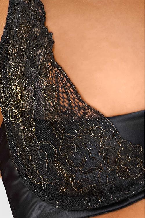 Černo-zlatá dámská podprsenka