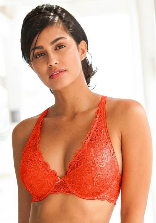 Oranžová krajková podprsenka