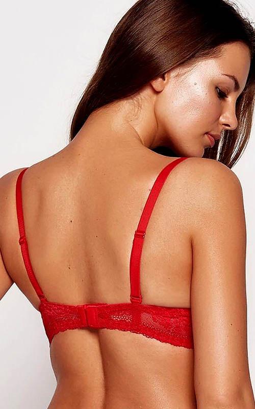 Červená pushupka s krajkovými zády