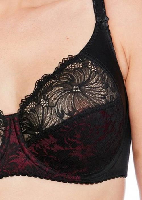 Fialovo-černá krajková podprsenka