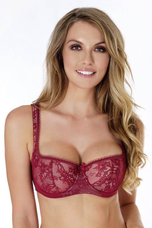Rudá bardot podprsenka nadzvedávající prsa