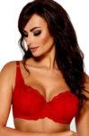 Sytě červená dámská krajkovaná podprsenka