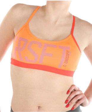 Oranžová sportovní podprsenka s nápisy