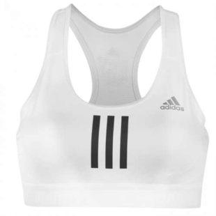 Bílá zlevněná sportovní podprsenka Adidas