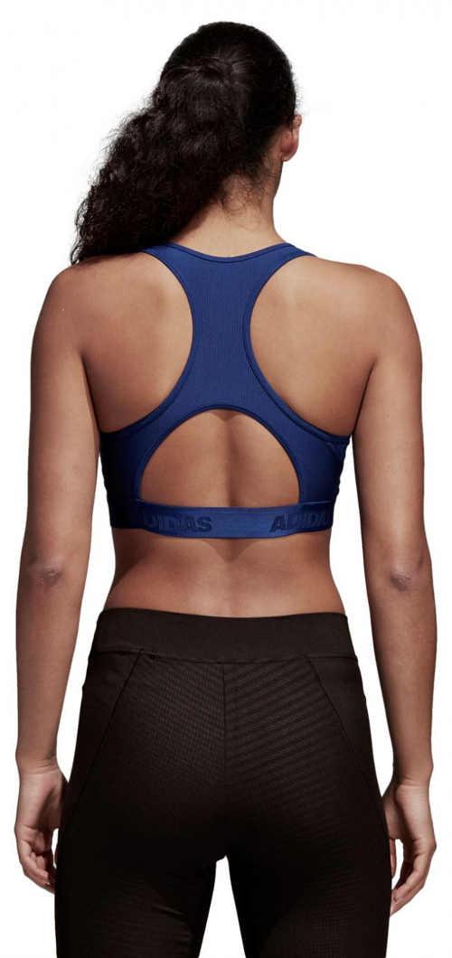 Modrá funkční podprsenka Adidas se sportovně vykrojenými zády