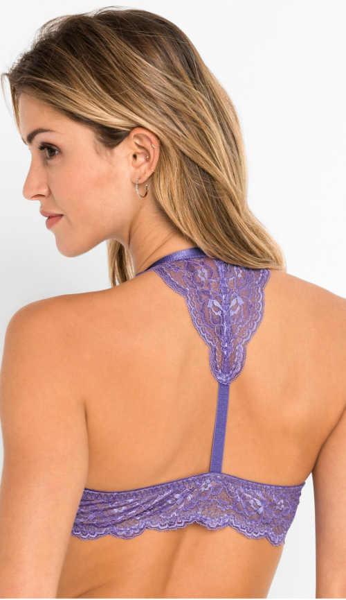 Fialová dámská podprsenka s ozdobnými krajkovými zády