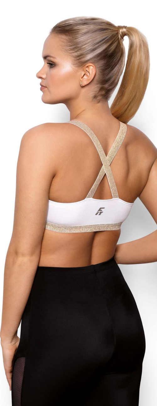 Sportovní dámská podprsenka s překříženými ozdobnými ramínky