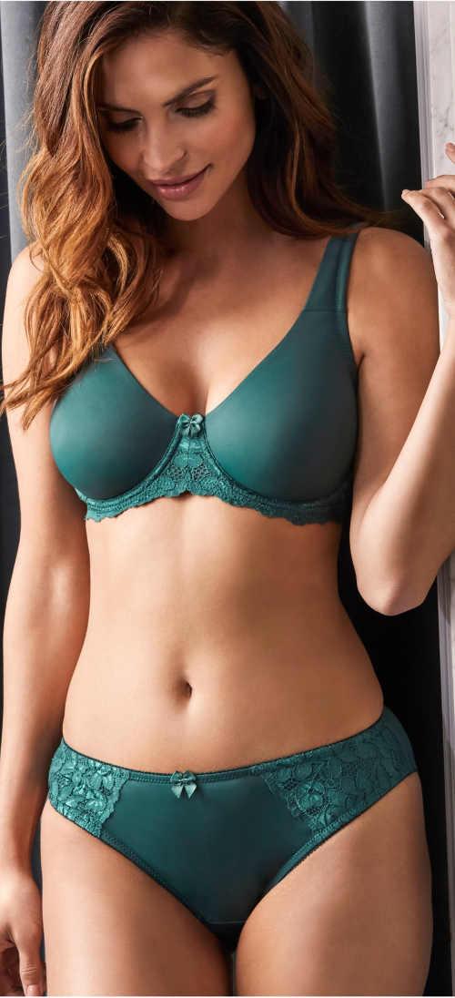 Zelená vyztužená bezešvá podprsenka pro velká prsa