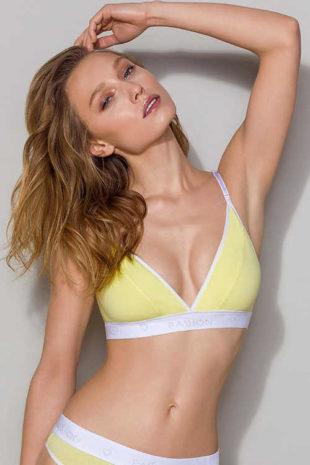Pohodlná dámská nevyztužená podprsenka v žlutém provedení